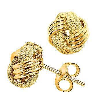 14 k золото блестящими и текстурированные тройной строки любви узел серьги Стад, 10 мм
