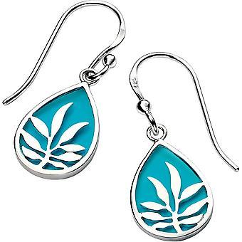 Delar Silver emalj Leaf krok örhängen - Silver/turkos