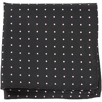 Knightsbridge Neckwear Pin Dot silke Pocket Square - sort/Pink