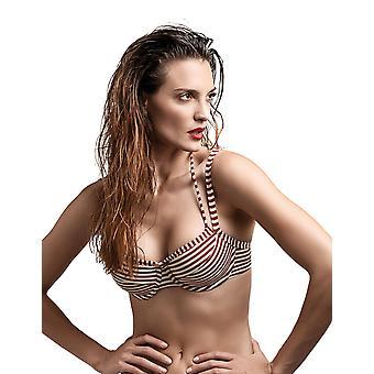 Marlies Dekkers 18181 Women's Holi Vintage Red Ecru Striped Padded Underwired Swimwear Beachwear Bikini Top