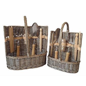 Set di 2 giardino cesto antico Wash Deluxe Trug strumento