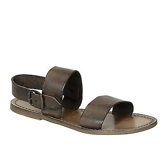 Mud color leather women's franciscan sandals handmade in Italy