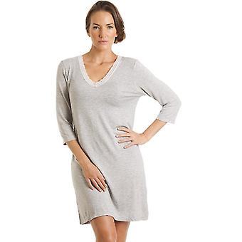Camille Womens Panie luksusowych szary kolana długość Koszula nocna 10-20