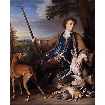 Portrait of the Artist in Hunting,Francois Desportes,50x40cm