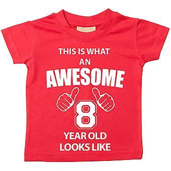 これは何の素晴らしい 8 年古いに見えるような赤 t シャツです。