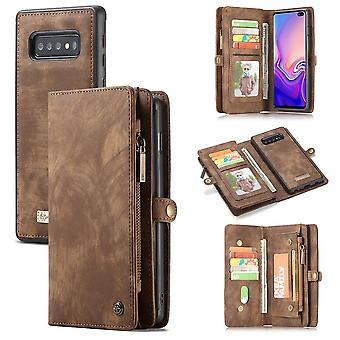Mobile bag for Samsung Galaxy S10 plus G975F CaseMe protective case purse + pouch case faux leather Brown