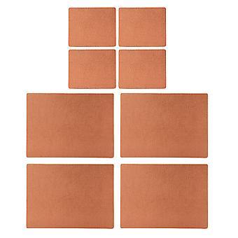 Co. de utensílios de mesa Inglês lig Placemats couro e porta-copos, cobre
