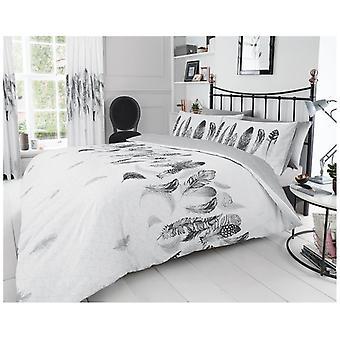 Plumas aves modernas edredón funda nórdica Reversible cama conjunto con funda de almohada