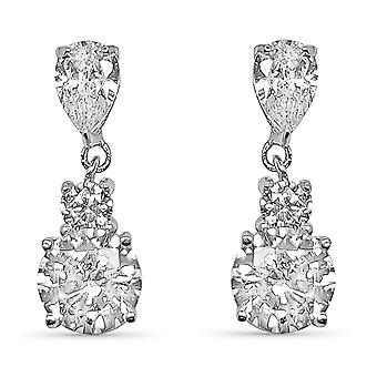 Ah! Jewellery Pear Drop Earrings With Crystals From Swarovski in Sterling Silver