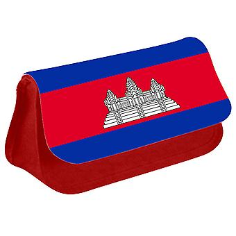 Cambodia Flag Printed Design Pencil Case for Stationary/Cosmetic - 0030 (Red) by i-Tronixs