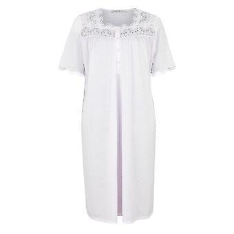 Feraud 3883125-10038 Frauen High Class rosa Baumwolle bestickt Nacht Kleid Loungewear Nachthemd