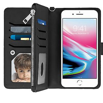 Flip wallet cover removable case iPhone 6 Plus / 6S Plus / 7 Plus / 8 Plus Black