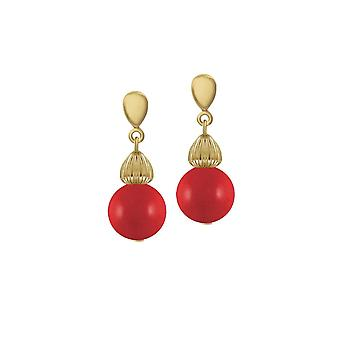 Eternal Collection Solitaire Red Pearl Gold Tone Drop Clip On Earrings