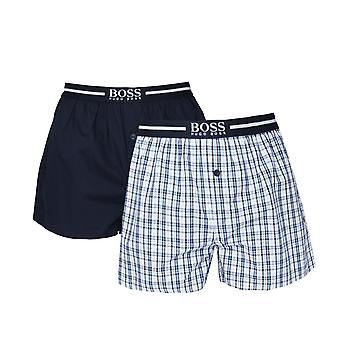 BOSS 2 Pack Navy Check Woven Boxer Shorts