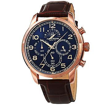 Akribos XXIV AK1004RGBU mäns Chronograph Classic läderrem klocka