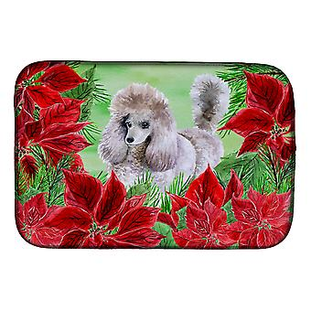 Carolines Treasures  CK1313DDM Poodle Poinsettas Dish Drying Mat