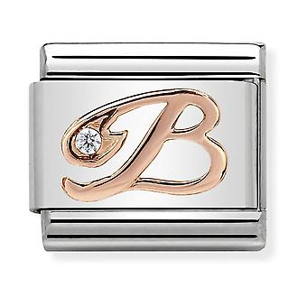 Nomination Classic Letter B Steel, CZ and 9k Rose Gold Link Charm 430310/02