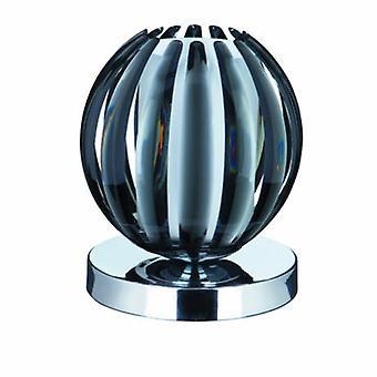 1 ljus bord touch lampa krom, rökt akryl med frostat glas