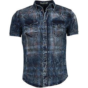 Denim - Mangas Curtas - Impressão colorida - Azul