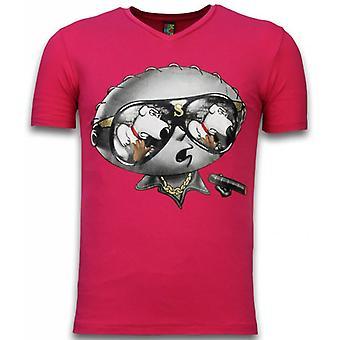 Stewie Dog-T-shirt-Fuschia