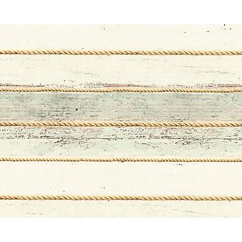 A.S. Creation AS Creation Distressed Wood Beam Pattern Wallpaper Rope Stripe Faux Effect 353403