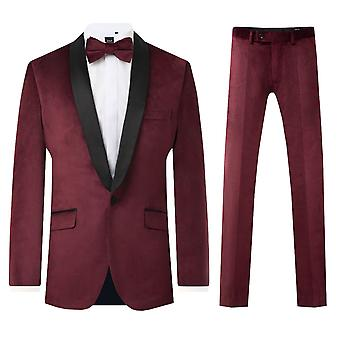 Dobell mens Bourgondië Velvet 2 stuk Tuxedo regular fit contrast sjaal revers
