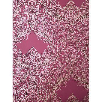Grey Silver Pink Gold Damask Wallpaper Glitter Suede Effect Floral Rasch Incanto