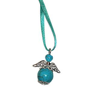 Handmade Hanging Semi-precious Turquoise Gemstone Guardian Angel in Silver Plated by Nyleve Designs