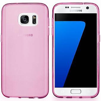 Samsung Galaxy S7 silikoni tapauksessa läpinäkyvä vaaleanpunainen - CoolSkin3T