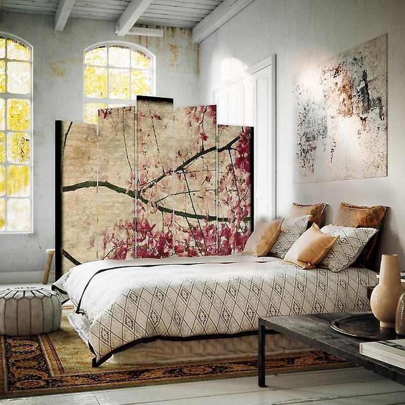 Diviseur de pièce décorative, 5 panneaux, toile, branche de floraison 8