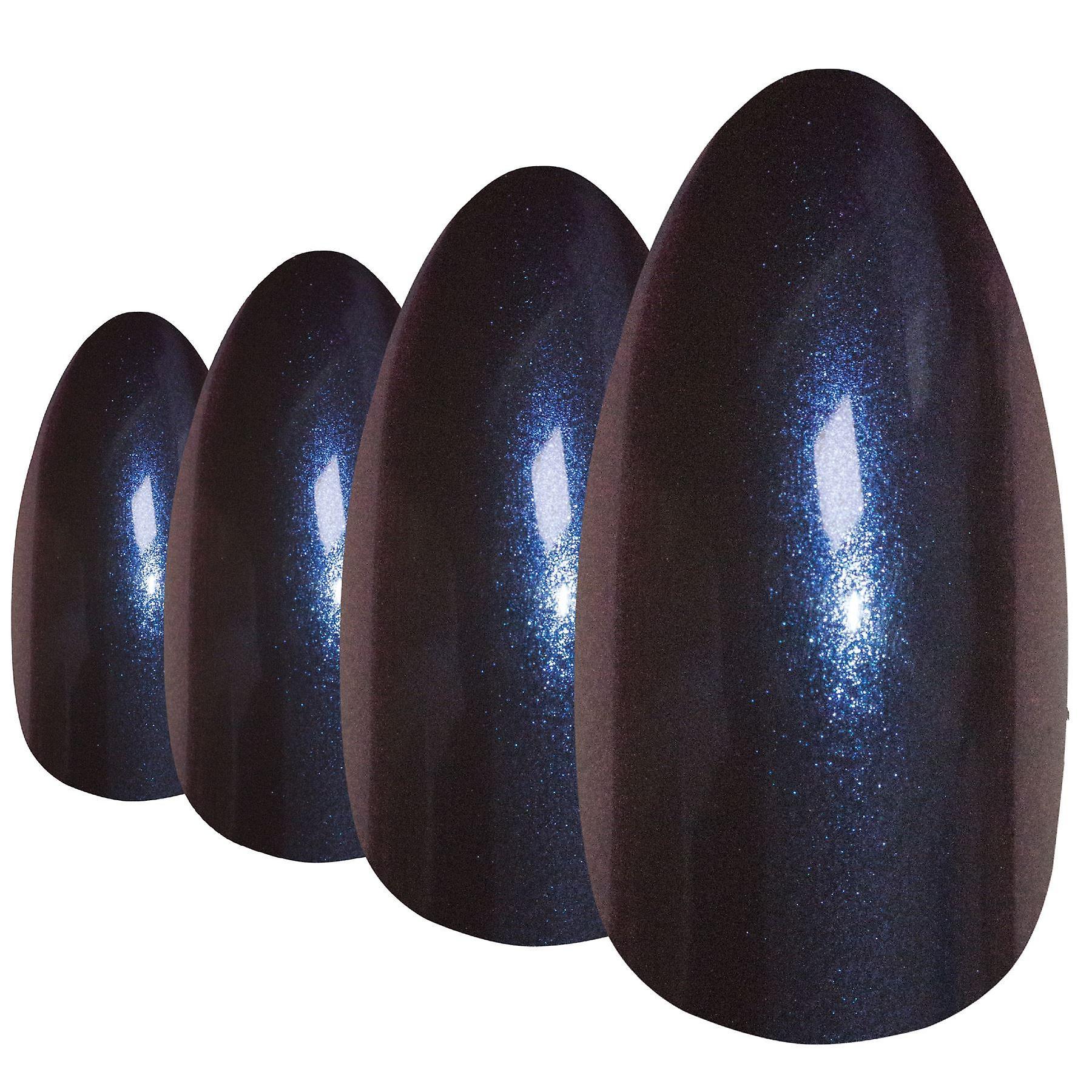 False nails by bling art blue purple chameleon almond stiletto 24 fake tips