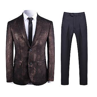 Allthemen Men's 2-Piece Suits Snake Skin Pattern Wedding Business Casual Blazer&Pants