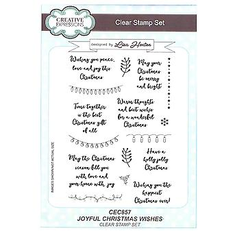 Creative Expressions Clear Stamp Set by Lisa Horton - Joyful Christmas Wishes