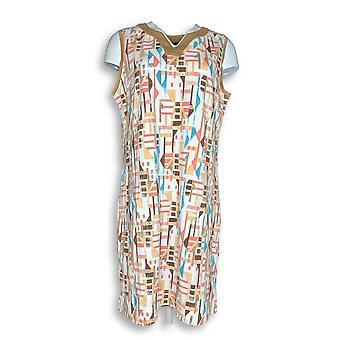 Denim & Co. Dress Beach Knit Sleeveless Printed White A291638