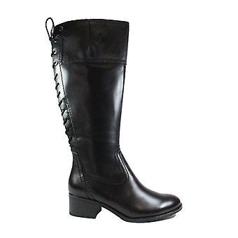 Tamaris 25543 Schwarz Leder Damen verstellbare lange Beinstiefel