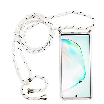 Chaîne de téléphone pour Samsung Galaxy Note 10 - Smartphone Necklace Case with Band - Cord with Case to Hang in White