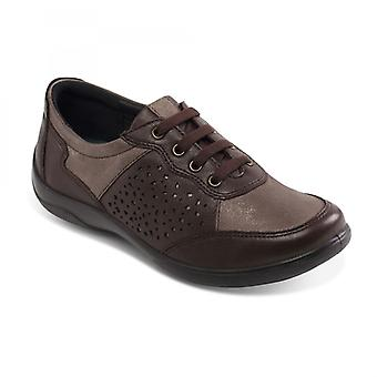 Padders Harp Ladies Leather Extra Wide (2e/3e) Shoes Brown