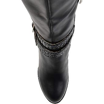Brinley Co Comfort Womens Braid Strap Wedge Boot Black, 8.5 Wide Calf US