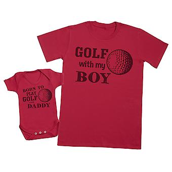 ولد للعب الغولف مع الأب مطابقة الأب الطفل هدية مجموعة - Mens تي شيرت وملابس الطفل