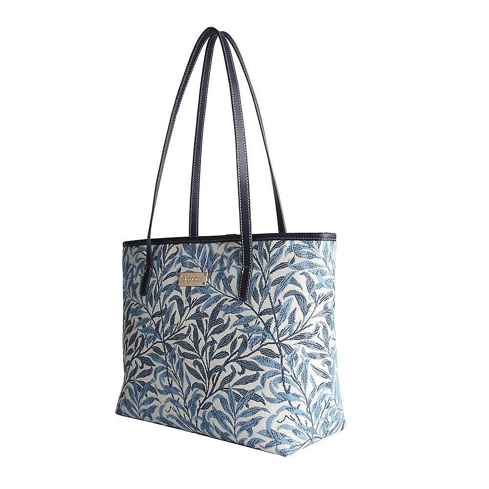 William morris - willow bough shoulder tote bag by signare tapestry / coll-wiow
