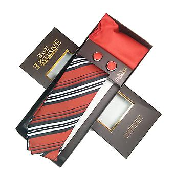 Tie, Cufflink & Hankerchief Set Exlusive Milan Collection 100% Hand Made Red With black and red stripes
