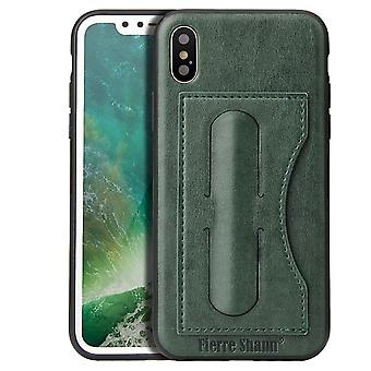 For iPhone XS,X Case,Fierre Shann Elegant Luxury Protective Leather Cover,Green