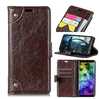 For iPhone XS MAX Case,Copper Buckle Flip Leather Wallet Cover,Slots,Coffee