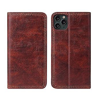 For iPhone 11 Pro Case PU Leather Flip Wallet Protective Cover Kickstand Brown