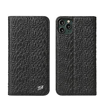 For iPhone 11 Pro Max Case Crocodile Genuine Cow Wallet Leather Cover Black