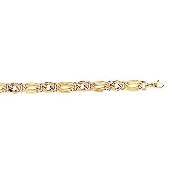 14k Yellow White and Rose Gold Tri Color Textured And Polish Link Hollow Bracelet 7.25 Inch Jewelry Gifts for Women