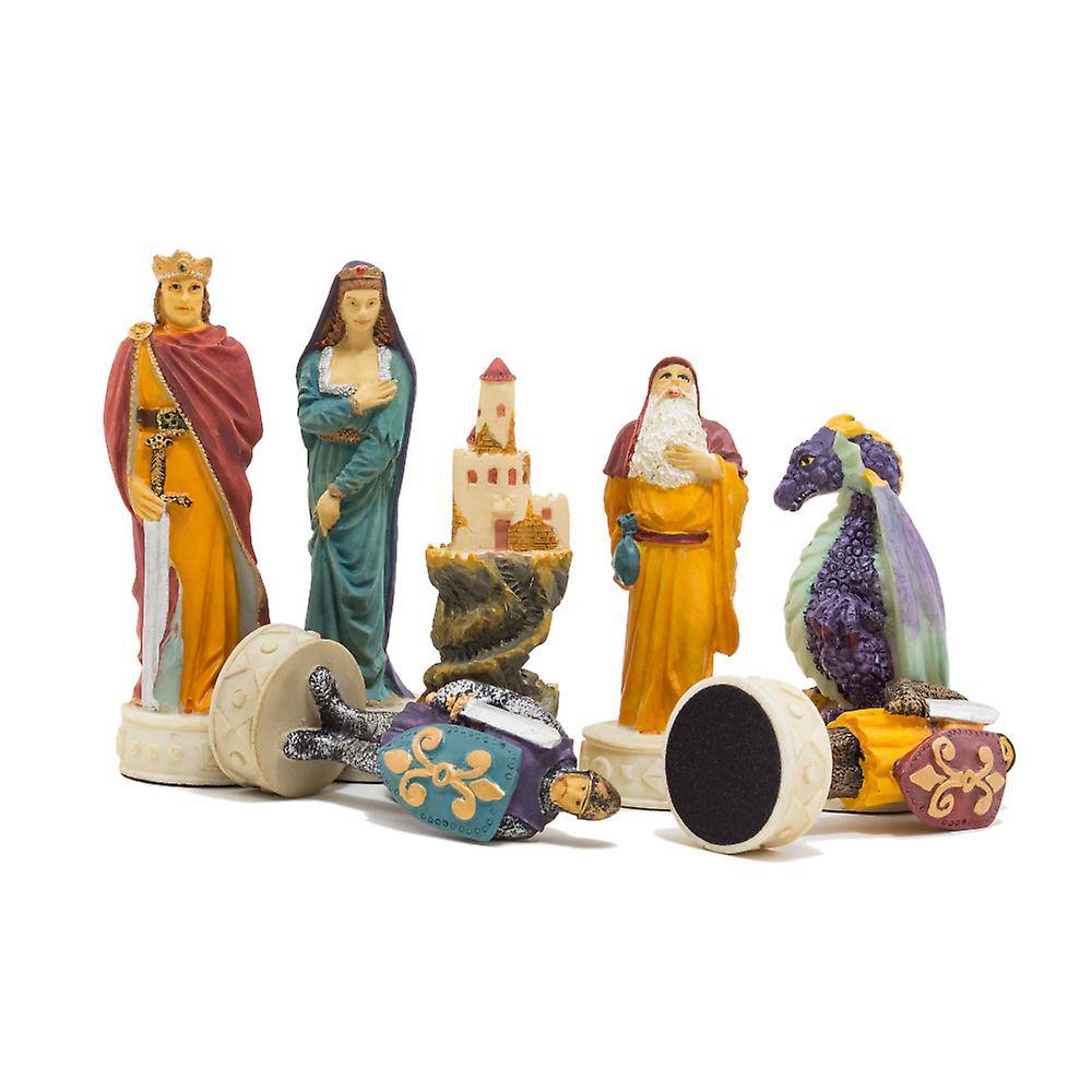 Medieval Hand painted themed chess pieces by Italfama