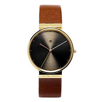 Jacob Jensen Watch Dimension Series Analog quartz men's watch with leather Item No.: 844