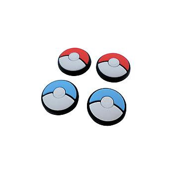 Silicone thumb grip stick caps for nintendo switch lite & joy-con controllers pokeball pokemon style - 4 pack red & blue | zedlabz