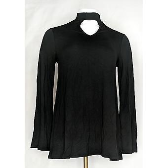 Laurie Felt Women's Top (XXS) Knit Choker Neckline Detail Black A301697